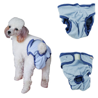 Female Puppy Pet Dog Hygienic Sanitary Diaper Pant Brief for SmallDog (Blue)