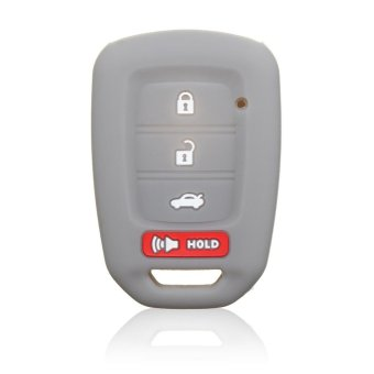 FIT FOR 2016 HONDA SILICONE 4 BUTTON CAR FOB SMART KEY COVERKEYLESS HOLDER CASE (Gray) - intl