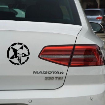 Five-pointed star Body Decor Skull head Auto Motorcycle Sticker CarStickers and Decals Car Styling 13*13CM - intl - 2
