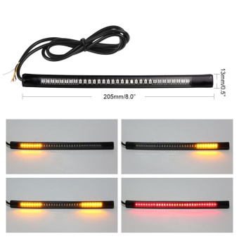 Flexible 48 LED Motorcycle Motorbike Tail Stop Turn Signal Flashing Strip Light - intl