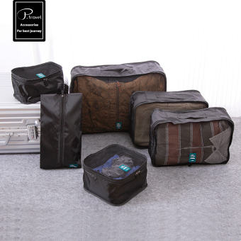 FLORA 6-Piece Travel Luggage Organizer Cloth Set Packing Cubes Storage Bags-Black - intl