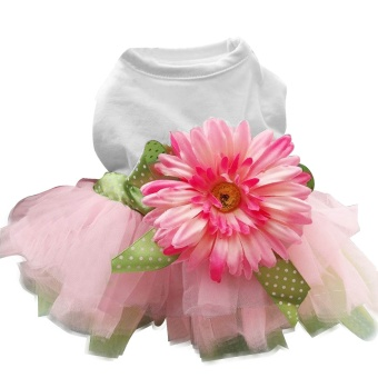 Flower Gauze Tutu Skirt Pet Wedding Dress for Puppy Dog Cat CostumeClothing Party Princess Apparel Size L - intl