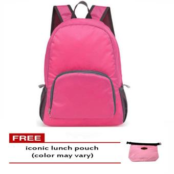 Foldable Bag Pack (Pink) free Iconic Lunch Pouch (Color May Vary)