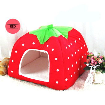 Foldable strawberry dog bed Pet Sleep Bed RED-S - Intl Price Philippines