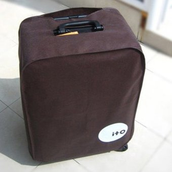 Foldable Waterproof Dustproof Luggage Cover Protector for 22-inch Trolley Case Suitcase Coffee