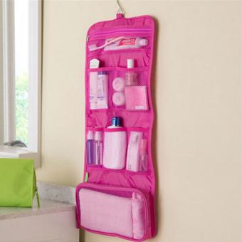 Folded Travel Hanging Cosmetic Organizer Bag (Pink) - 3
