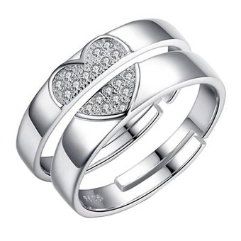 Forever Love Crystal Silver Couple Rings Wedding Band His & Her Promise Box Set