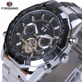 Forsining Mens Watches Top Brand Luxury 2017 New Series Mechanical Tourbillon Design Clock Men Automatic Watch Skeleton Military Watch (Black) - intl