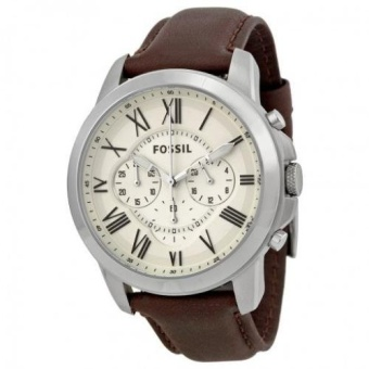 Fossil Grant Chronograph Egg Shell Dial Brown Leather Men's Watch FS4735