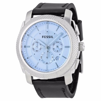 Fossil Machine Chronograph Silver Dial Black Leather Strap Men's Watch FS5160