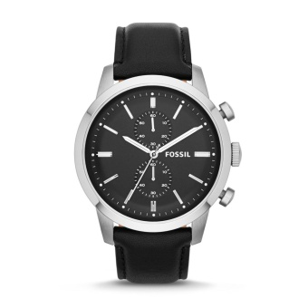 Fossil Townsman Chronograph Black Dial Black Leather Men's Watch FS4866