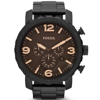 Fossil XL Nate Chronograph Black Ion-plated Stainless Steel Men's Watch JR1356