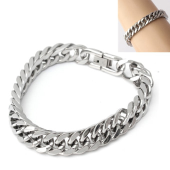 Freebang Silver Tone 316L Stainless Steel Curb Chain Mens Chunky Fashion Bracelet 23cm