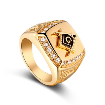 Freemason Ring CZ Diamond Men Gold Masonic Jewelry - intl