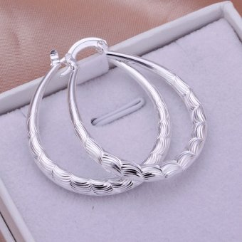Fulemay New Women 925 Sterling Silver Fashion Hoop Dangle EarringStuds Jewelry LKNSPCE295