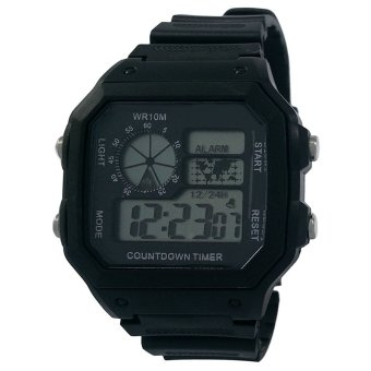 Functional Men Digital Sports Watch With Timer Stopwatch (Black)
