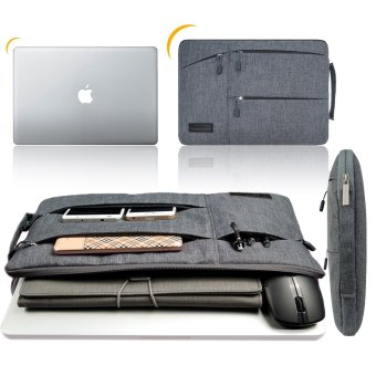 Gearmax(TM) Travellers Multi-functional Nylon Water Resistant withSide Pockets Laptop Handbag for 13.3 Inch Macbook Air Pro /Notebook / Surface / Dell Sleeve Case Cover Bag (13.3 Inch,Gray) -Intl - 3