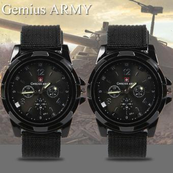 GEMIUS ARMY Military Sport Style Army Canvas Strap Watch (Black)Set of 2 Price Philippines