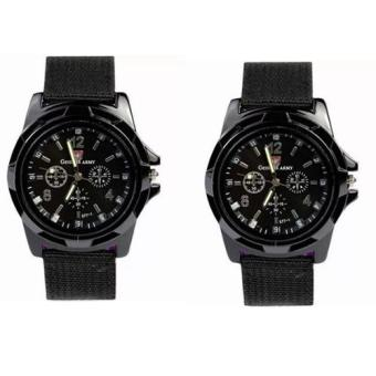 GEMIUS ARMY Military Sport Style Army Men's Canvas Strap Watch (Black) Set of 2