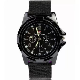 GEMIUS ARMY Military Sport Style Army Men's Black Canvas StrapWatch