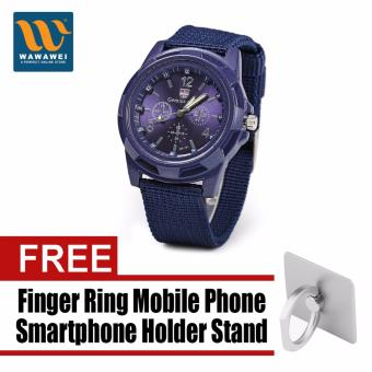 GEMIUS ARMY Military Sport Style Army Men's Blue Canvas Strap Watchwith free Finger Ring Mobile Phone Smartphone Holder Stand foriPhone (Color May Vary) Price Philippines
