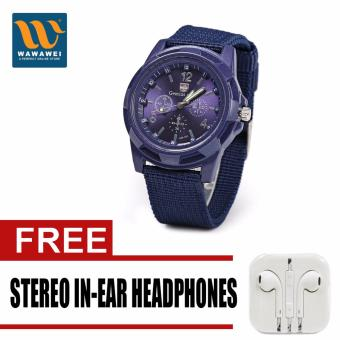 GEMIUS ARMY Military Sport Style Army Men's Blue Canvas Strap Watchwith free Stereo In-Ear Headphone (Color May Vary) Price Philippines