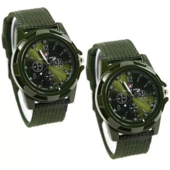 GEMIUS ARMY Military Sport Style Army Men's Green Canvas StrapWatch Set of 2