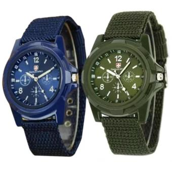 GEMIUS ARMY Military Sport Style Army Men's Green/Blue Canvas StrapWatch