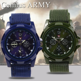 GEMIUS ARMY Military Sport Style Army Men's Green/Blue Canvas StrapWatch Price Philippines