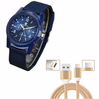 Gemius Army Military Sports Style Army Blue with Cable WireConnector for iPhone and Android 2in1 (Gold) Price Philippines