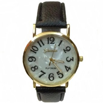 Geneva 299 Mother of Pearl Wrist Watch With Black Faux Leather