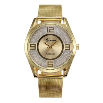 Geneva 8422 Diamond Men's Alloy Table False Three Red Pointer Quartz Watch-Gold Steel Mesh Belt - intl - 2