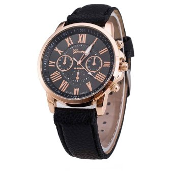 Geneva Celine Leather Strap Watch (Black)