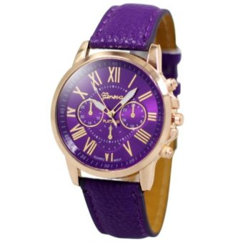 Geneva Celine Violet Leather Wrist Watch
