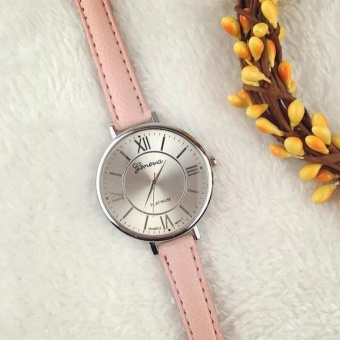 Geneva Christina Classic Roman Numerals Leather Watch (Pink)