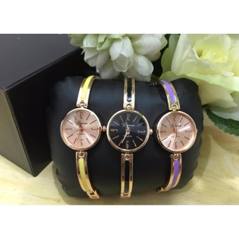 Geneva Claire Fashion Ladies Casual Bracelet Quarts Wrist Watch setof 3 (Yellow,Black,Violet)
