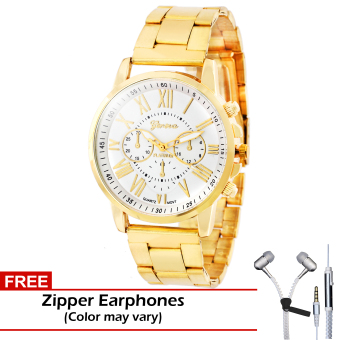 Geneva Clarisse Stainless Steel Strap Watch (White) with FREE Zipper Earphones