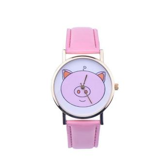 Geneva Cutie Pink Piggy Design Leather Watch ( Baby Pink)