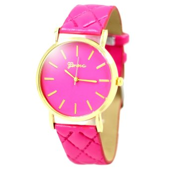 Geneva Elizabeth Women's Hot Pink Leather Strap Watch B2GLW164