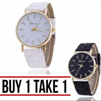 Geneva Elizabeth Women's Leather Strap Watch Buy 1 Take 1