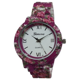 Geneva Floral Rose Women's Barbie Pink Stainless Steel Watch