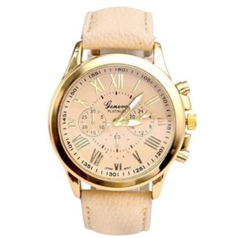 Geneva GNV-9999 Women's Classic Fashion Roman Numerals LeatherStrap Wrist Watch (Beige)