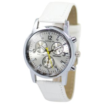 Geneva Jasmine White Leather Strap Watch B2GLW172