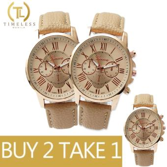 Geneva Kathy Roman Numeral Leather Watch Buy 2 Take 1 (Beige)