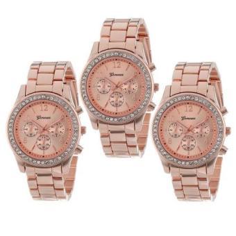 Geneva Lady's Rose Pink Bracelet Watch Set of 3