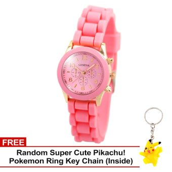 Geneva Little Nikka Women's Silicon Strap Watch (Baby Pink) with Free Super Cute Pikachu Key Chain Price Philippines