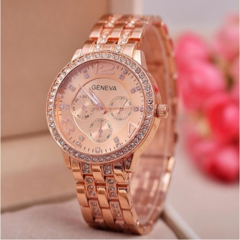 Geneva Macey Stainless Steel Watch (Rosegold)