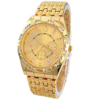 Geneva Men Diamond Metal Band Analog Quartz Fashion Wrist Watch(Gold)
