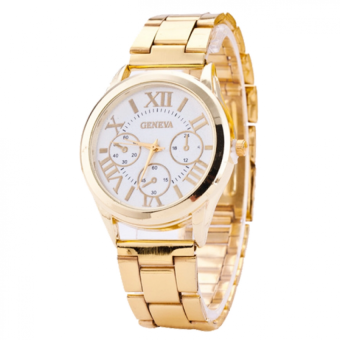 Geneva Men's Gold/White Stainless Steel Watch