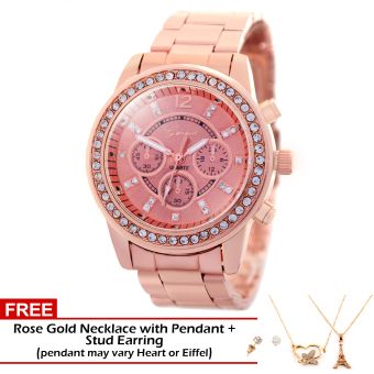 Geneva Misty Stainless Steel Watch BUS044 (Rose Gold) with FREE Rose Gold Pendant Necklace (Pendant May Vary) and Stud Earrings